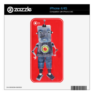 Robot vintage retro 1950s pop art style skin for iPhone 4