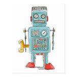 robot vintage toys postcard