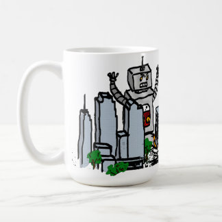 Robot vs City Classic White Coffee Mug