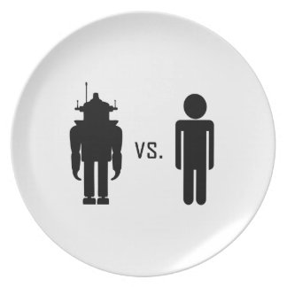 Robot vs. Human Party Plate