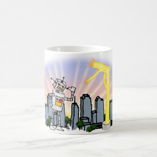 Robot vs Inflatable Tube Man Classic White Coffee Mug