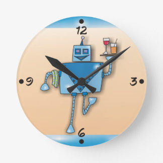 Robot Waiter With Tray and Towel Round Wall Clocks