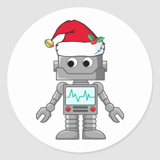 Robot Wearing Santa Hat Classic Round Sticker