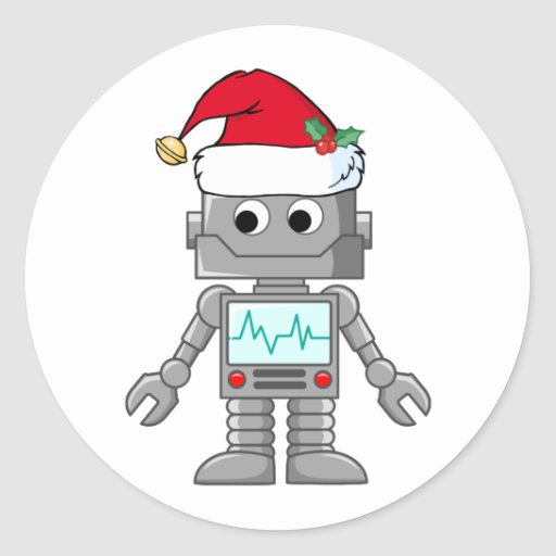 Robot wearing santa hat classic round sticker zazzle