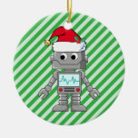 Robot Wearing Santa Hat Double-Sided Ceramic Round Christmas Ornament