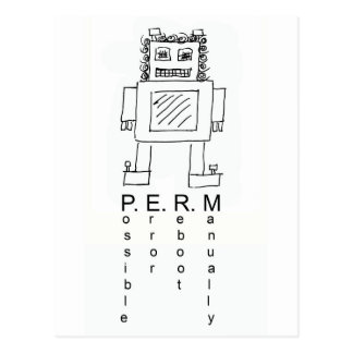 Robot with a perm funny post card