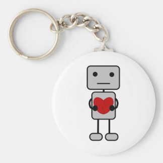 Robot with Heart Keychain