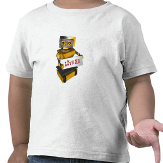 """ROBOT WITH """"LOVE ME"""" SIGN T-SHIRT"""