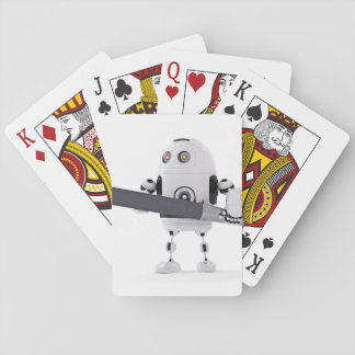 Robot with pen playing cards