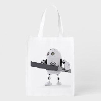 Robot with pen reusable grocery bag