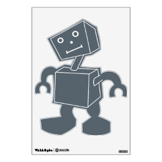 Robot with White Lines on Gray Wall Decal v5