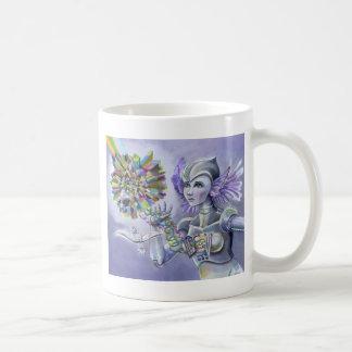 Robot Woman with a Starlike Love- Crystal Heart Coffee Mug