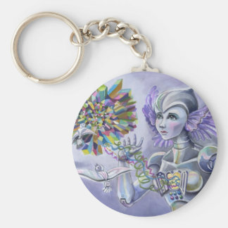 Robot Woman with a Starlike Love- Crystal Heart Keychains
