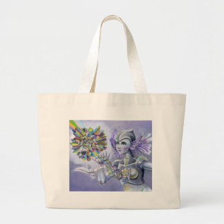 Robot Woman with a Starlike Love- Crystal Heart Large Tote Bag