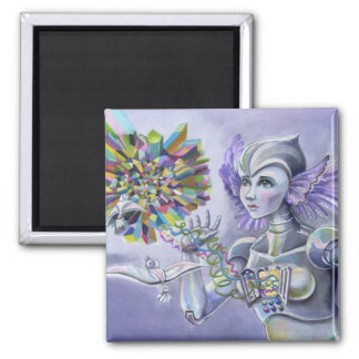 Robot Woman with a Starlike Love- Crystal Heart 2 Inch Square Magnet