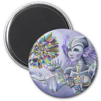 Robot Woman with a Starlike Love- Crystal Heart 2 Inch Round Magnet