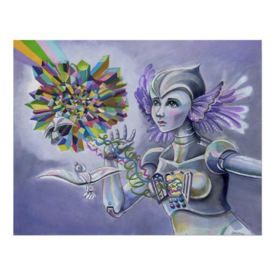 Robot Woman with a Starlike Love Poster