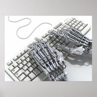 Robot work on the computer print