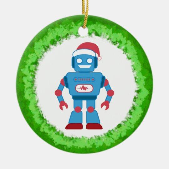 Robot Wreath Ceramic Ornament