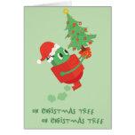 Robot y árbol de navidad divertidos felicitación