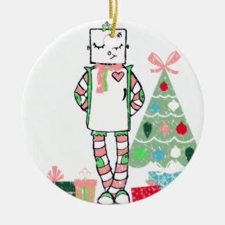 Robot y árbol en colores pastel del día de fiesta adorno navideño redondo de cerámica