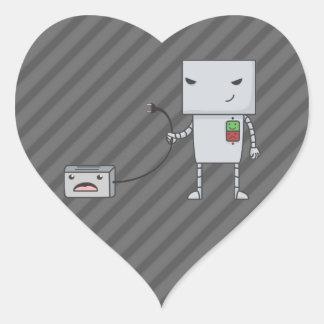 Robot y tostadora pegatina en forma de corazón