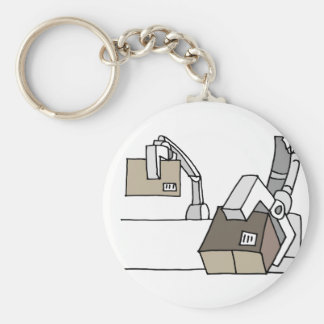 Robotic arm moving boxes keychain