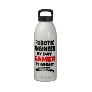 Robotic Engineer by Day Gamer by Night Drinking Bottle