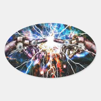 Robotic Explosion Oval Sticker