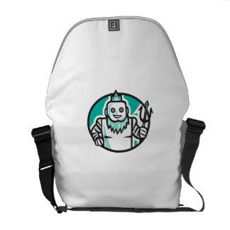 Robotic Poseidon Holding Trident Oval Retro Messenger Bag