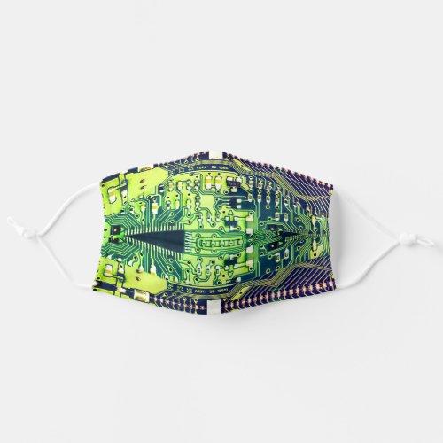 Robotic Printed Circuit Board _ Green Geek Techie Cloth Face Mask