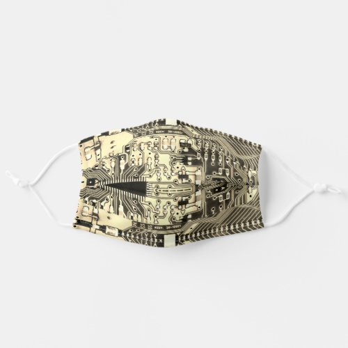 Robotic Printed Circuit Board _ Ivory Geek Techie Cloth Face Mask