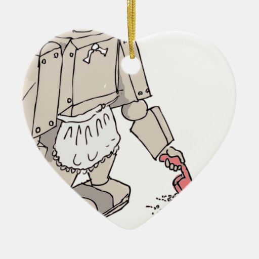 Robotic Vacuum Cleaner Double-Sided Heart Ceramic Christmas Ornament