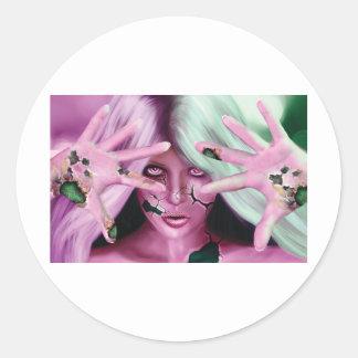 Robotic Woman Classic Round Sticker