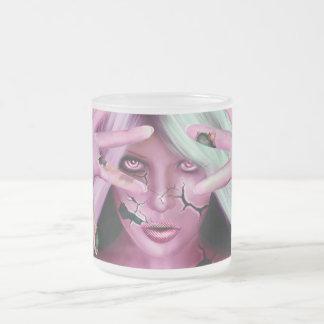 Robotic Woman Frosted Glass Coffee Mug