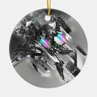 Robótica fresca abstracta de la transformación adorno navideño redondo de cerámica