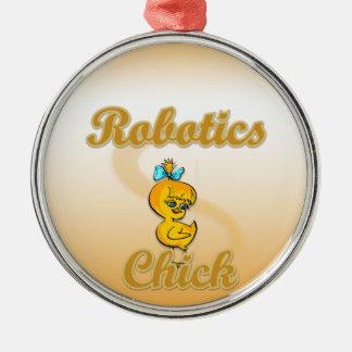 Robotics Chick Round Metal Christmas Ornament