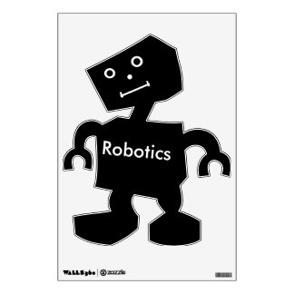 Robotics Text in White On Black Robot with Face Wall Sticker