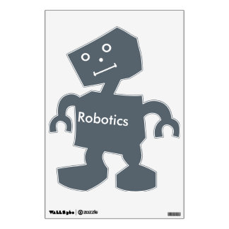 Robotics Text in White On Slate Gray with Face Wall Sticker