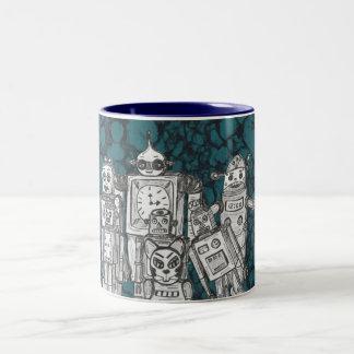 robots5 Two-Tone coffee mug