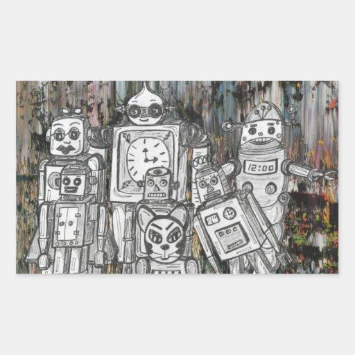 Robots 11 pegatina rectangular