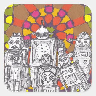 Robots 1 del mosaico pegatina cuadrada