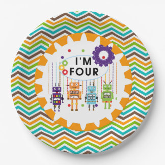 Robots 4th Birthday Paper Plates 9 Inch Paper Plate
