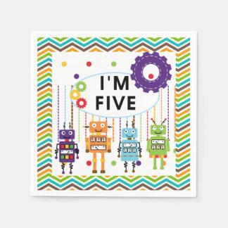 Robots 5th Birthday Paper Napkins