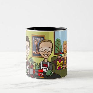 Robots and Cheesy Poofs Two-Tone Coffee Mug