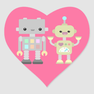 Robots At Play Heart Sticker