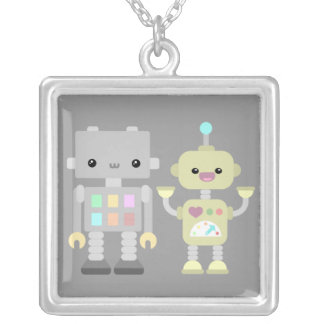 Robots At Play Square Pendant Necklace