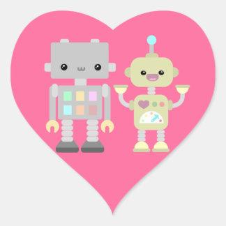 Robots At Play Heart Sticker