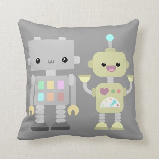 Robots At Play Throw Pillow