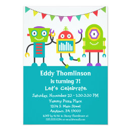 Funny 1st birthday invitations announcements zazzle robots birthday invitation boys colorful robot filmwisefo Images